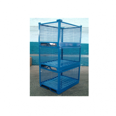 Custom Rack-able Corrugated Wire Mesh Container with Skid Bars Ref: CM17