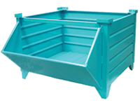 Hopper Front Corrugated Steel Pallet Container