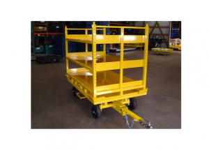 Quad Steer Industrial Cart Manual Rotate Deck with 180 Degrees Detent with Adjustable Shelf Rack Ref: CT74
