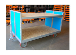 Quad Steer Cart w/Wood Shelves Ref: CT197